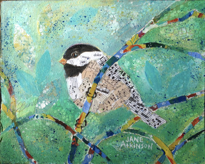 Musical Chickadee, Acrylic and Collage