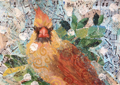 Female Cardinal, Acrylic and Collage