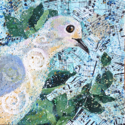 Mourning Dove, acrylic and collage