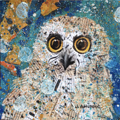 Saw-Whet Owl, Acrylic and Collage