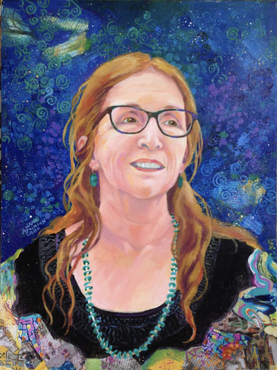 Mixed media portrait of Susan