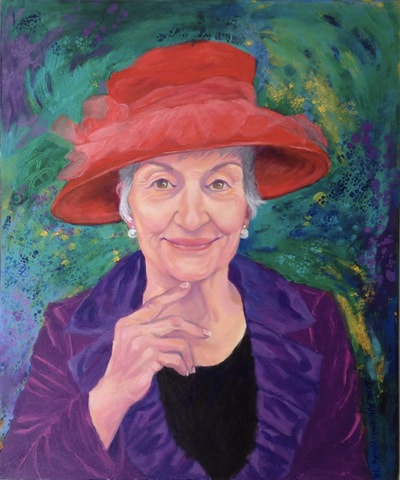 Acrylic portrait of a woman in a red hat