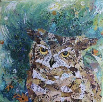Acrylic collage of a great horned owl