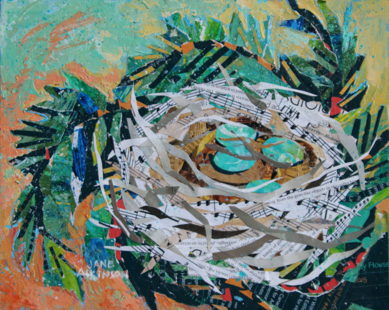 Bird nest with 3 blue eggs. Mixed media