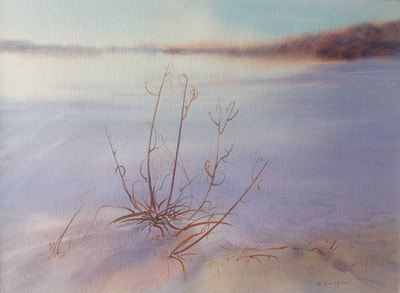 Watercolour Landscape in shades of blue; warm afternoon light $525.00